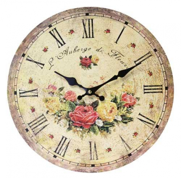 FLORAL WALL CLOCK 34cm FRENCH CHIC SHABBY VINTAGE COUNTRY RUSTIC NEW ...