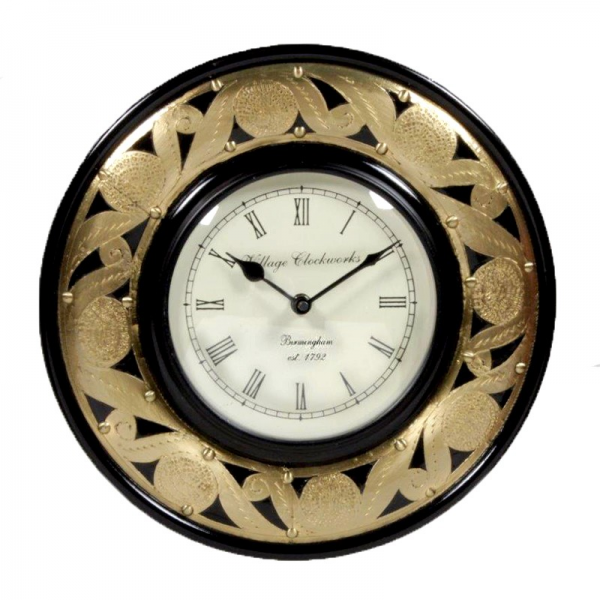 Home Home & Kitchen Wall Clocks Brass Embossed Round Shaped Wall Clock