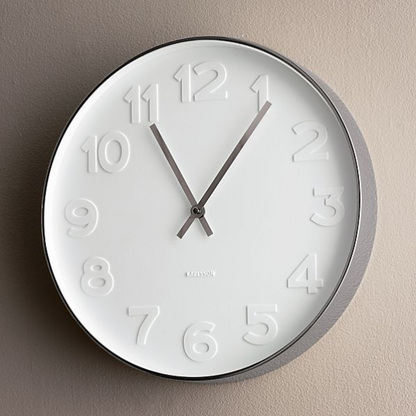 Embossed Numbers 15 Wall Clock | Crate and Barrel