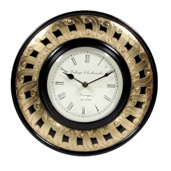Home Page HOME DECORATIVES Wall Clocks Brass Embossed Round Wall Clock