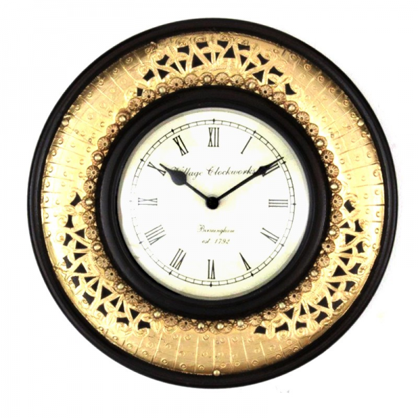 Antique Brass Embossed Wall Clock-89