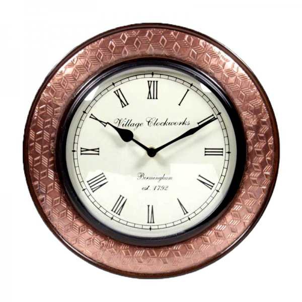 Antique Copper Embossed Round Wall Clock