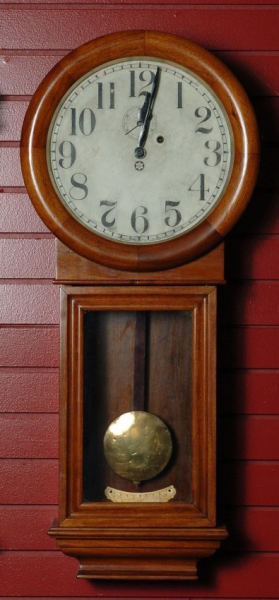 NEW HAVEN 'SATURN' WALL CLOCK IN MAHOGANY CASE : Lot 78