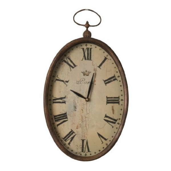Wilco Imports Pocket Watch Design Oval Wall Clock with Large Roman ...