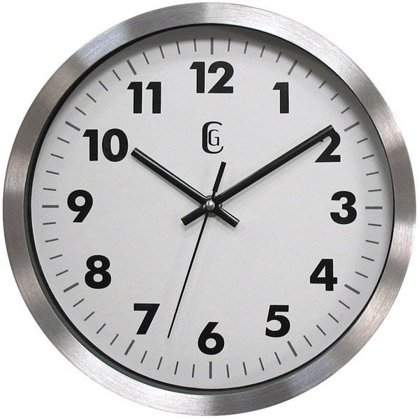 GENEVA 10 Brushed Silver Metal Glass Wall Clock Battery Power Free US ...