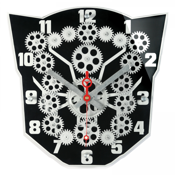 Maples Sales Moving Gear Wall Clock with Black Plexy Dial - Black - 13 ...
