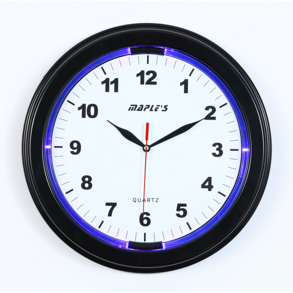 Maples Sales LED Plastic 13 in. Wall Clock - Black - Wall Clocks at ...