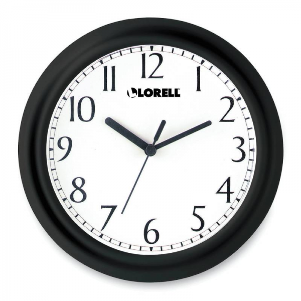 LORELL Profile Round Wall Clock with Arabic Numerals, 9 in, White Dial ...