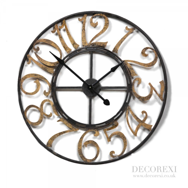 Black Skeleton Wall Clock With Large Gold Numbers