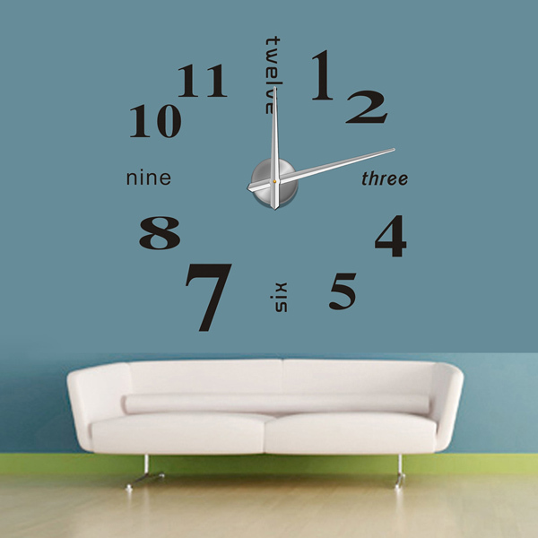 mirror wall clock Modern design,big decorative sticker DIY wall clocks ...