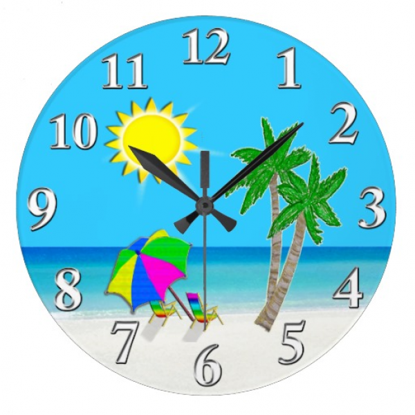 Cheerful Turquoise Wall Clocks Beach Theme | Zazzle