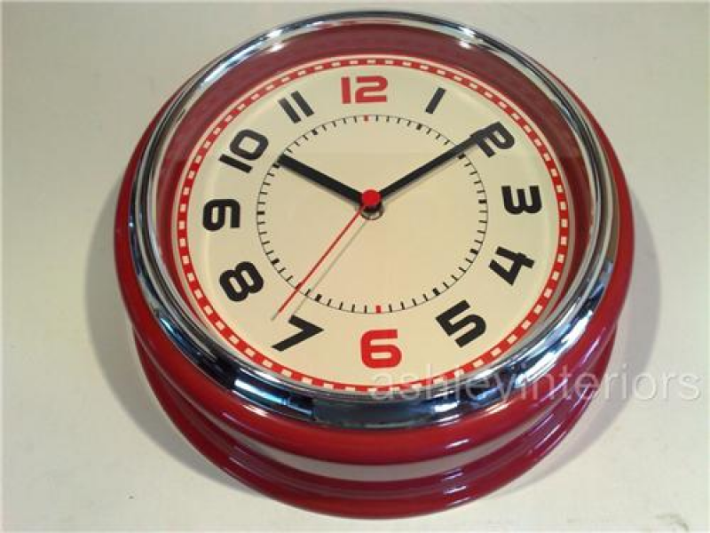 Retro Red American Diner Wall Clock, Retro Wall clock, Red Wall clock ...