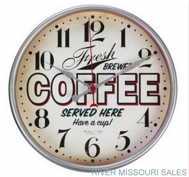 Threshold Vintage Style Diner Wall Clock Metal Hands w Glass Face ...