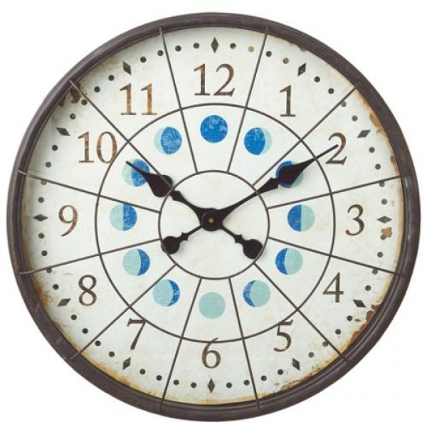 ... Inspired Distressed Porthole Moon Phases Wall Clock - Walmart.com