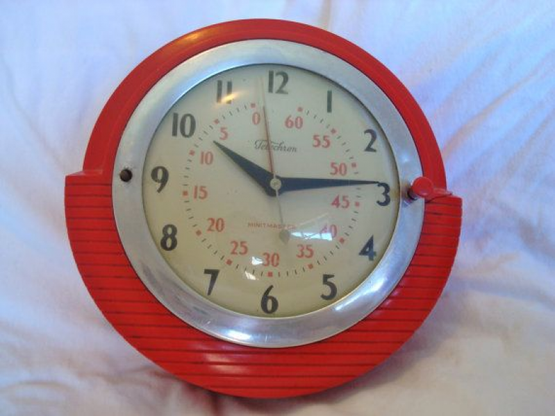 red wall clock | 50's First Time Around | Pinterest