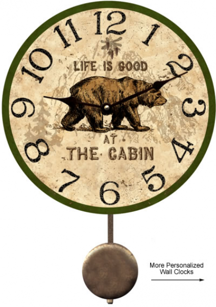 Cabin Clock-Rustic Personalized Cabin Clock