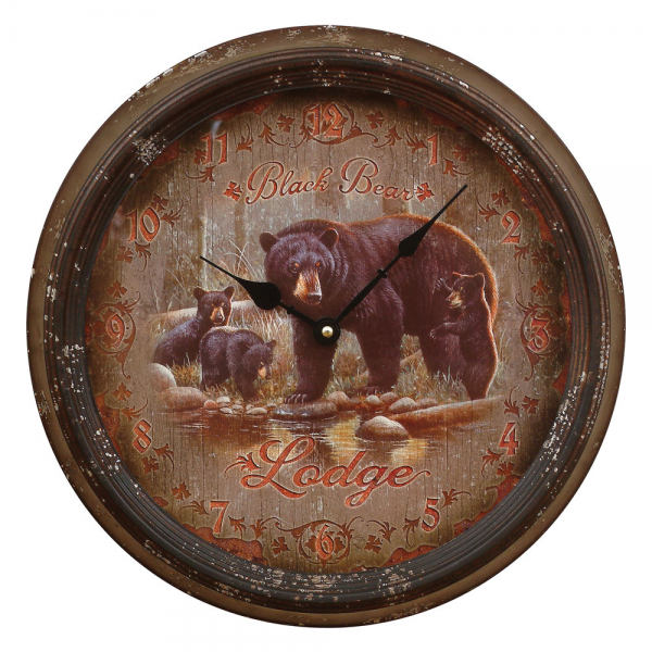 Black Bear Lodge Wall Clock