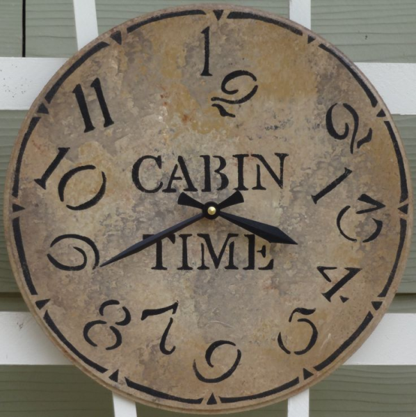 12 Inch CABIN TIME Wall Clock in Shades of Gray, Tan and Charcoal wit ...