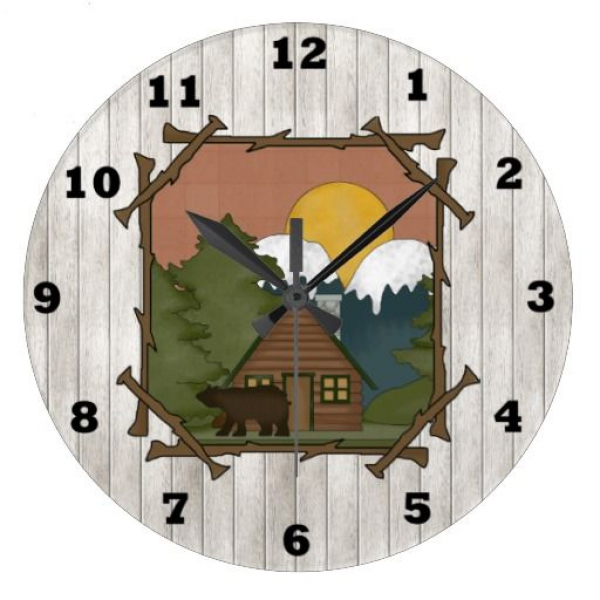 Country Cabin Brown wall clock