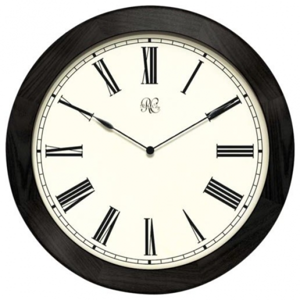 27-Inch Wooden Wall Clock with Black Frame and Roman Numerals ...