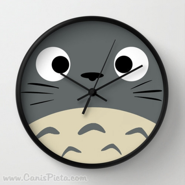 Curiously Totoro Wall Clock in Natural Wood Black or White Frames ...