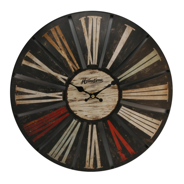 Large Domed Wooden Wall Clock - Cut out Design
