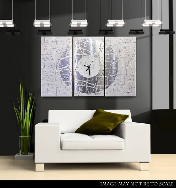 Details about Large Modern White & Silver Metal Abstract Wall Clock ...