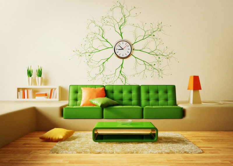 Creative living room sofa and wall clock | 3D house, Free 3D house ...