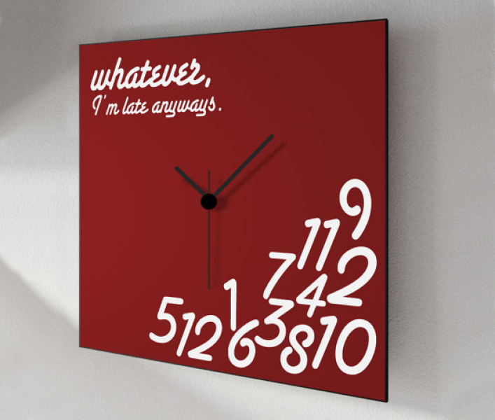 Wall clock, whatever I'm late anyway's, square wall clock 12x12 ...