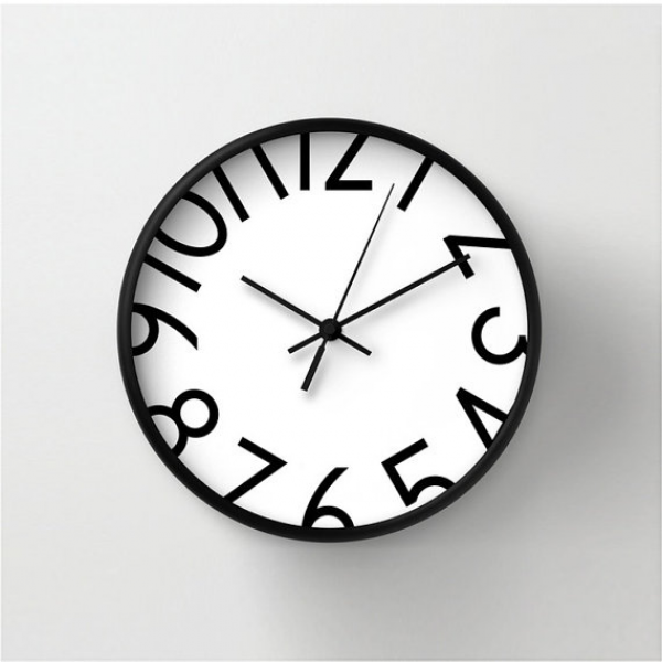 Big numbers wall clock, numbered wall clock, black and white, home ...