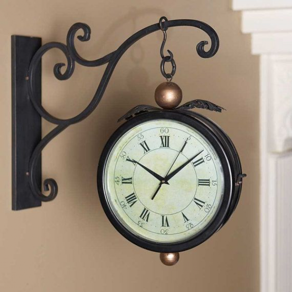 Iron Double Sided Clock w/Hanging Wall by MyCozyCottageHome