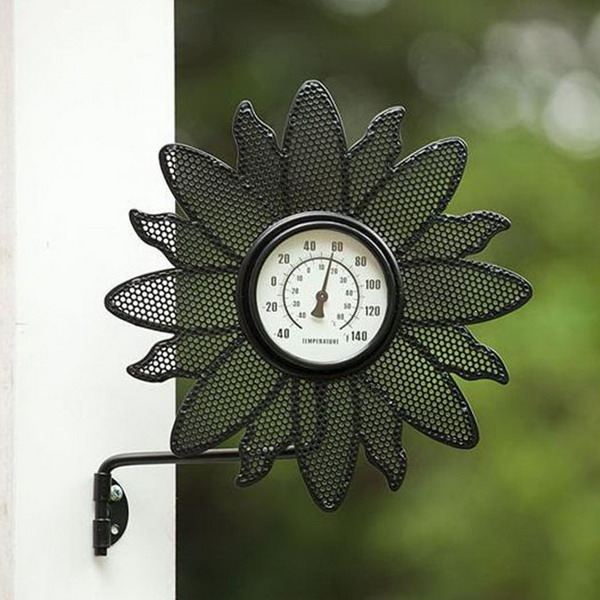 ... Metal Thermometer Outdoor Thermometer and Clock with Wall Bracket