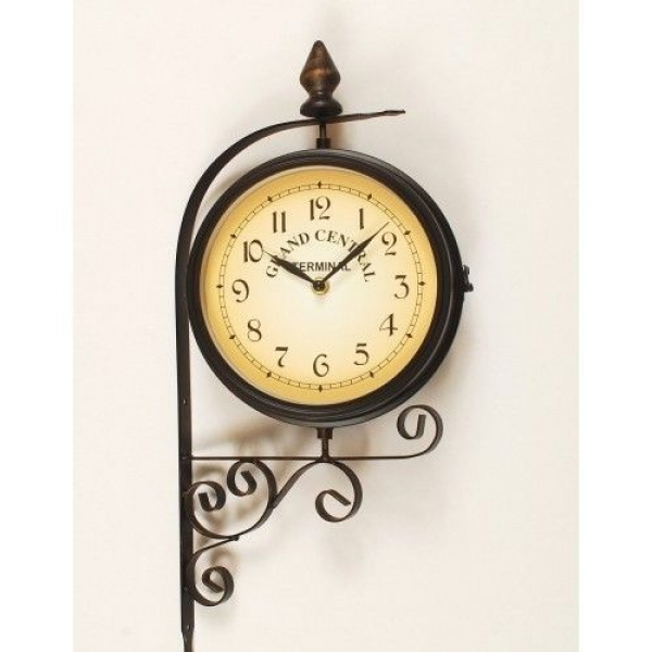 Bracket Wall Clock Outdoor Indoor Thermometer Temperature Double Sided ...