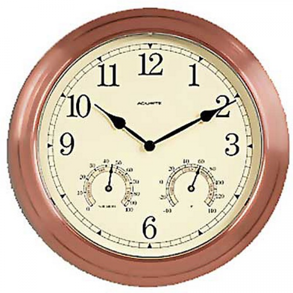 Chaney Copper 13.5 in. Outdoor Wall Clock - Outdoor Clocks at ...