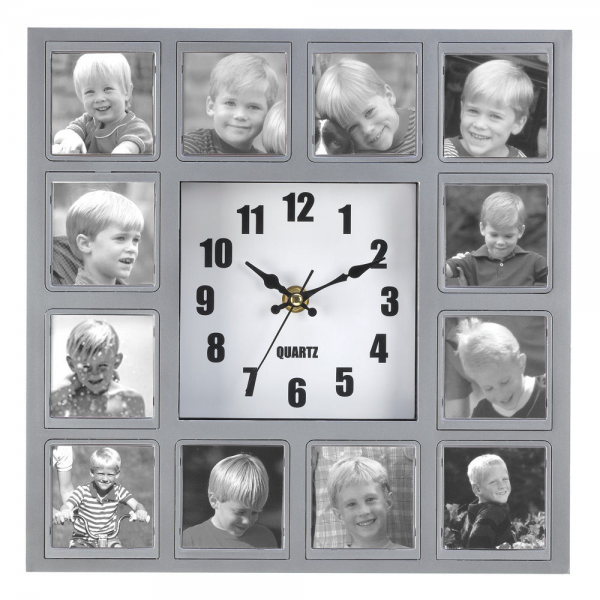 Photo Collage Hanging Wall Quartz Clock Picture Frame