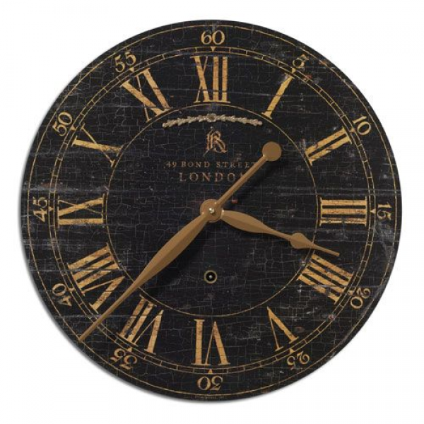 Bond Street 18 Inch Black Clock Uttermost Wall Mounted Clock Clocks H ...