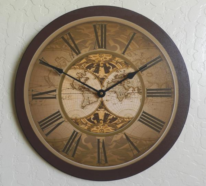 Traditional Old World Map Wall Clock Large