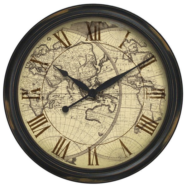 The Columbus - Distressed Map Wall Clock Wall Clock