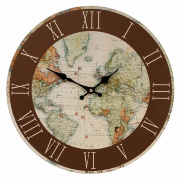 NEW - World Map Wall Clock - Great For any Travel Or Map Globe ...