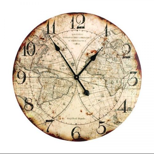 ... Style World Map Distressed Finish Decorative Wall Clock - Walmart.com