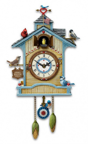 Cute Wall Clock - Peep's Place Birdhouse Cuckoo Clock by The Bradford ...