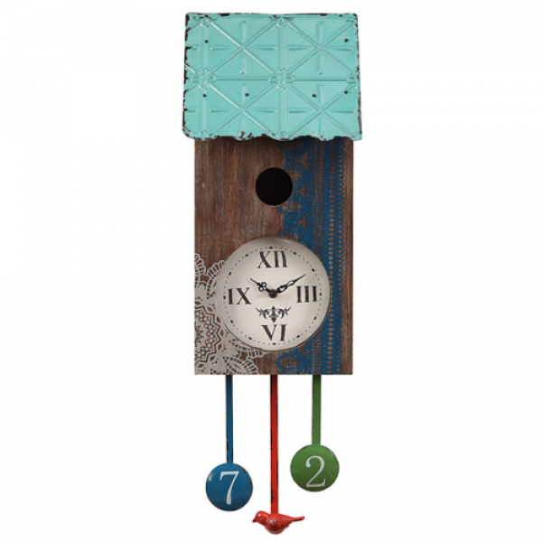 Birdhouse Wall Clock with Decorative Pendulums