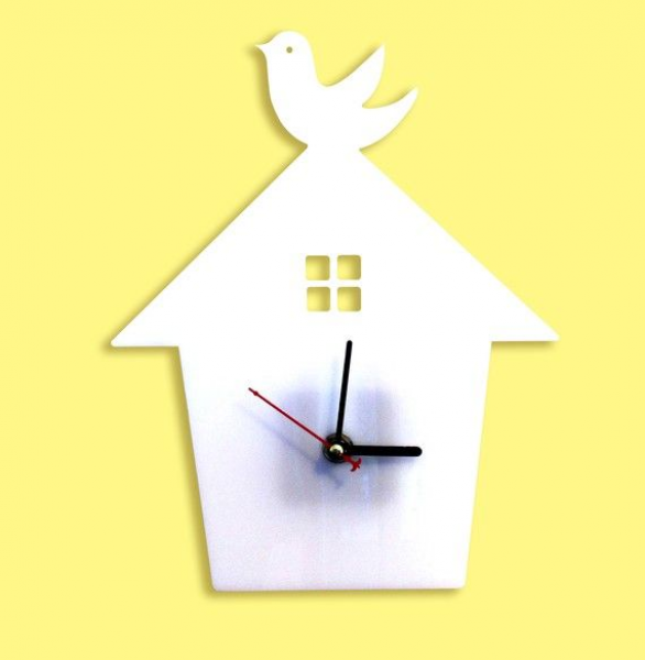 White Bird House Wall Hanging Clock