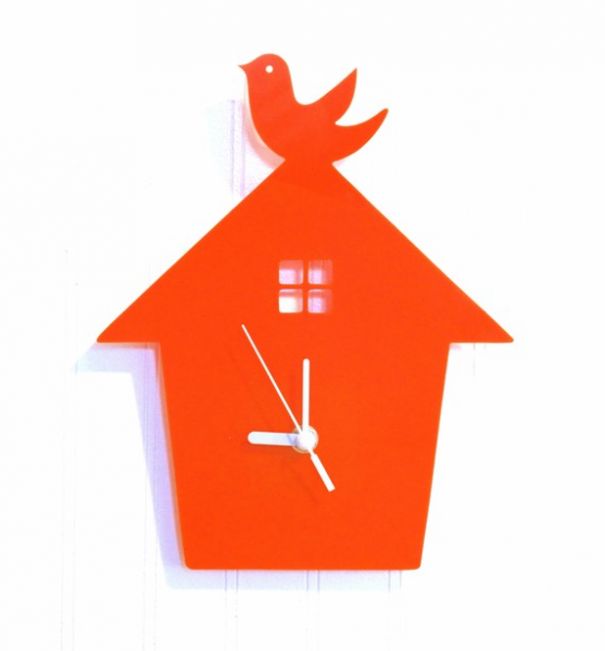 Items similar to Orange Bird House Wall Hanging Clock on Etsy