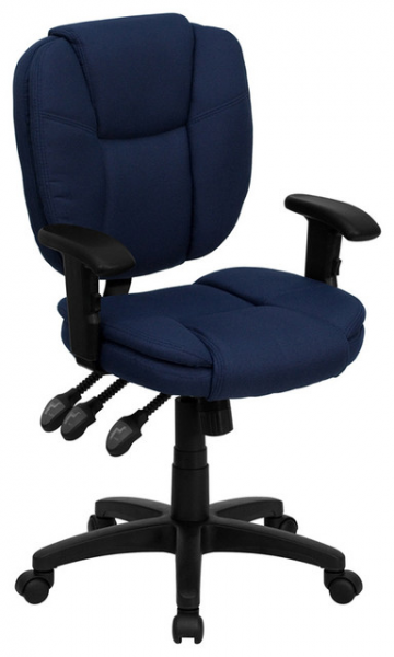 Mid-Back Navy Blue Fabric Multi-Functional Ergonomic Task Chair With ...