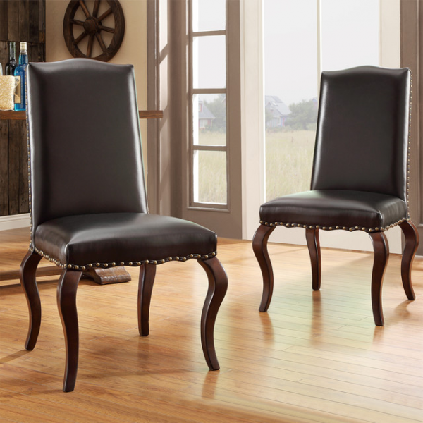 Lorell Brown Bonded Leather Upholstered Traditional Dining Chair (Set ...