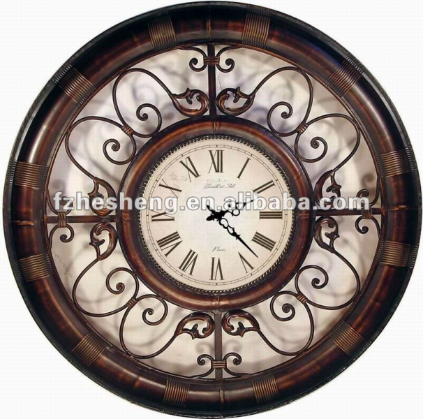 view product details rustic large scroll design metal wall clock