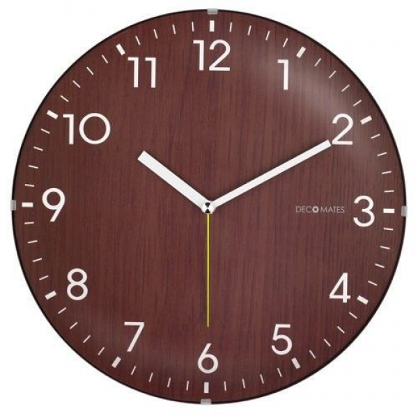 Wall Clock DecoMates NonTicking SilentTraditional Wooden Brown White ...