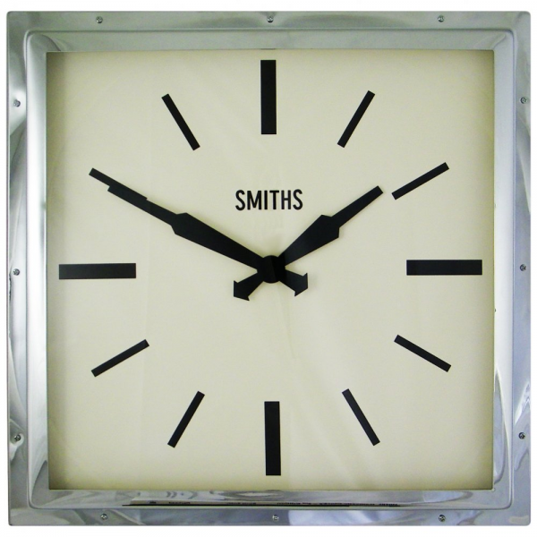 Smiths Deco Square Wall Clock : Chrome Wall Clock | Hurn and Hurn