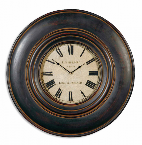 ... Black with Brown Undertones Wooden Frame Circular Wall Clock